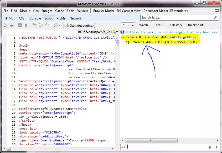 Crm 2013 Quick Way To Get The Guid On A Form Hosks Dynamic Crm Blog