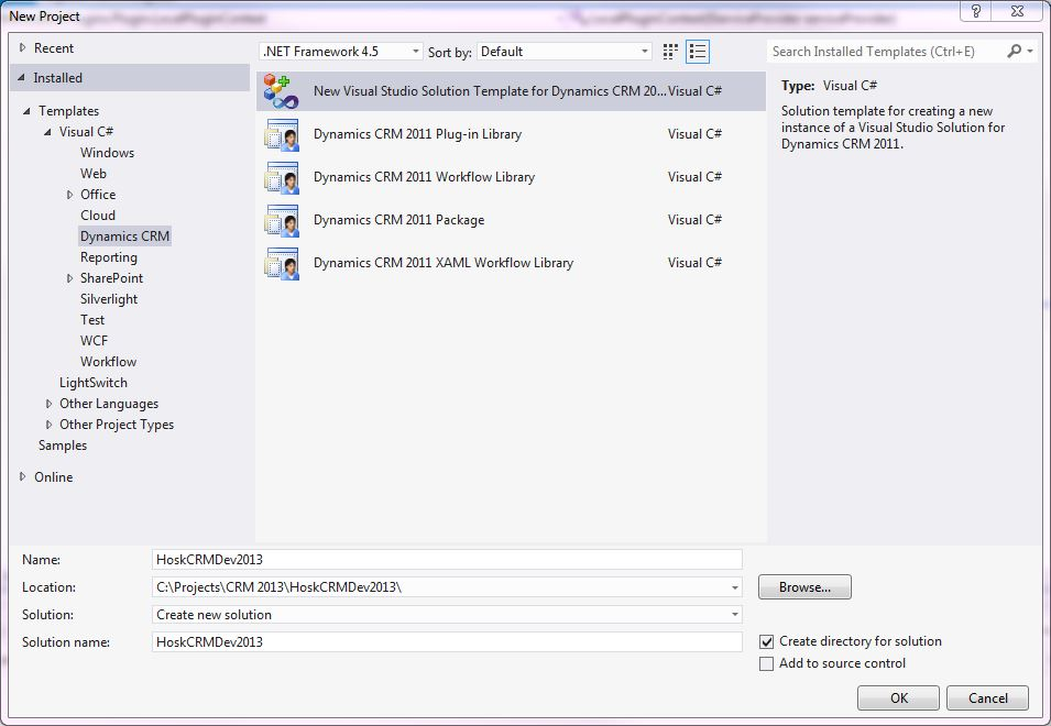 CRM 2013 – Setting up Visual Studio with the Developer